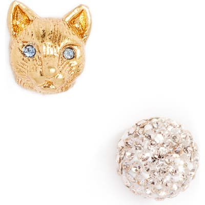 Kate Spade New York House Cat Mismatched Pave Stud Earrings