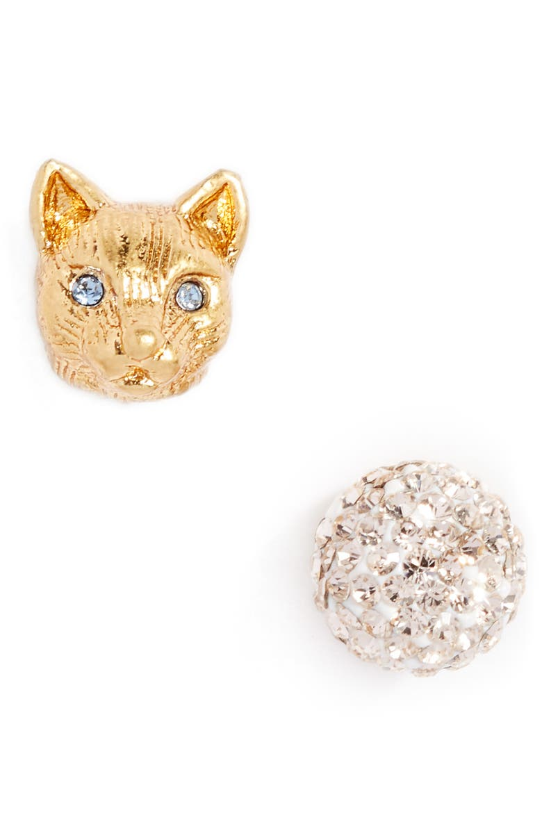 KATE SPADE NEW YORK house cat mismatched pavé stud earrings, Main, color, 710