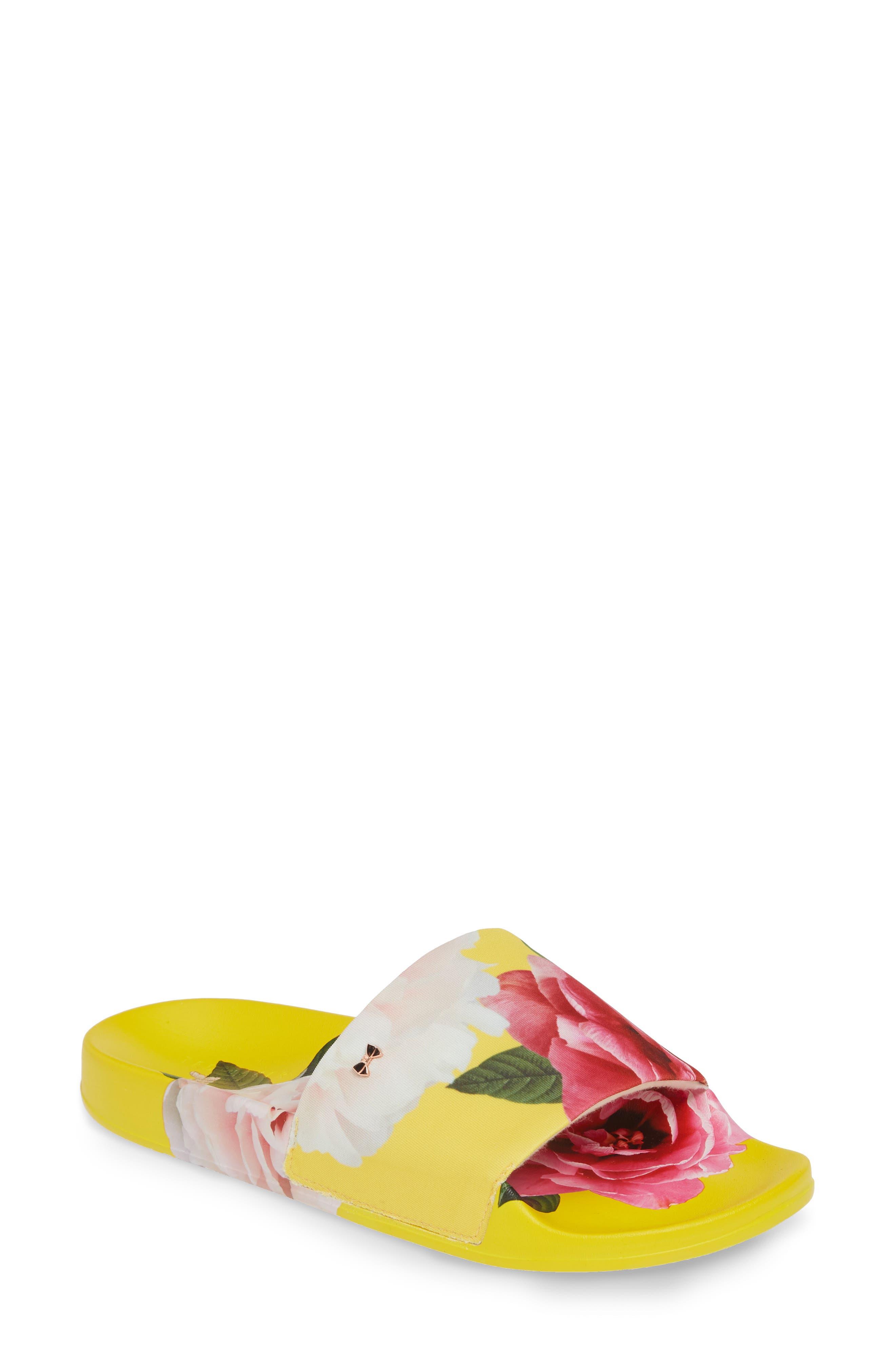 ,                             Avelini Slide Sandal,                             Main thumbnail 1, color,                             MAGNIFICENT YELLOW SATIN