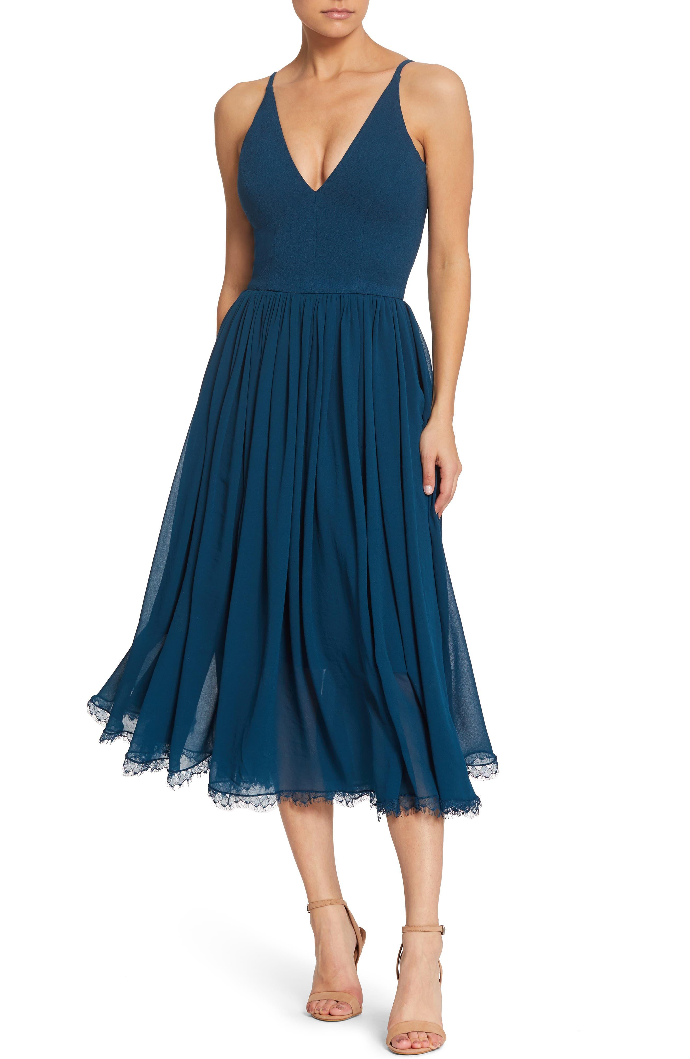 b5b0149e19cb Dress The Population Alicia Mixed Media Midi Dress, Blue