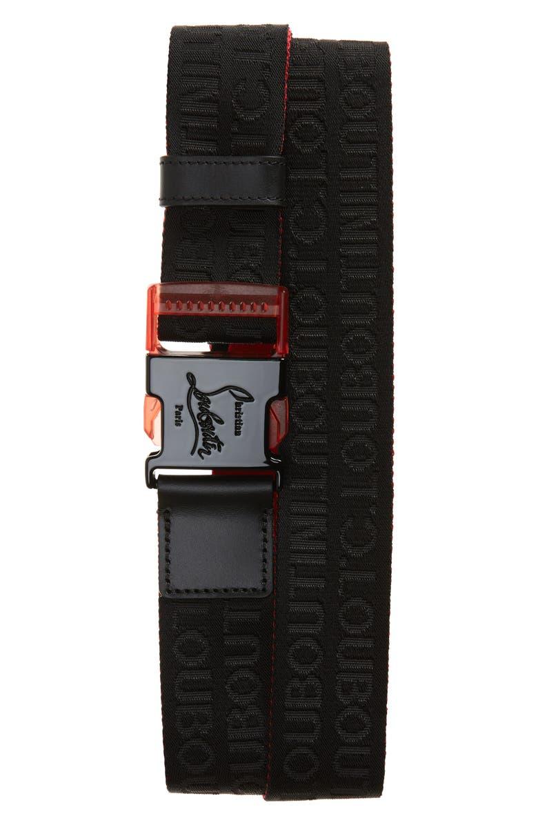 CHRISTIAN LOUBOUTIN Loubiclic Nylon & Leather Belt, Main, color, 007