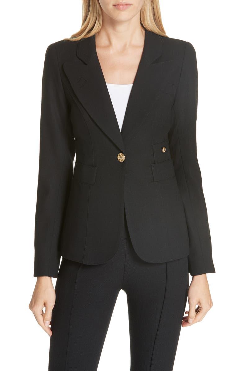 SMYTHE Classic Duchess Blazer, Main, color, BLACK