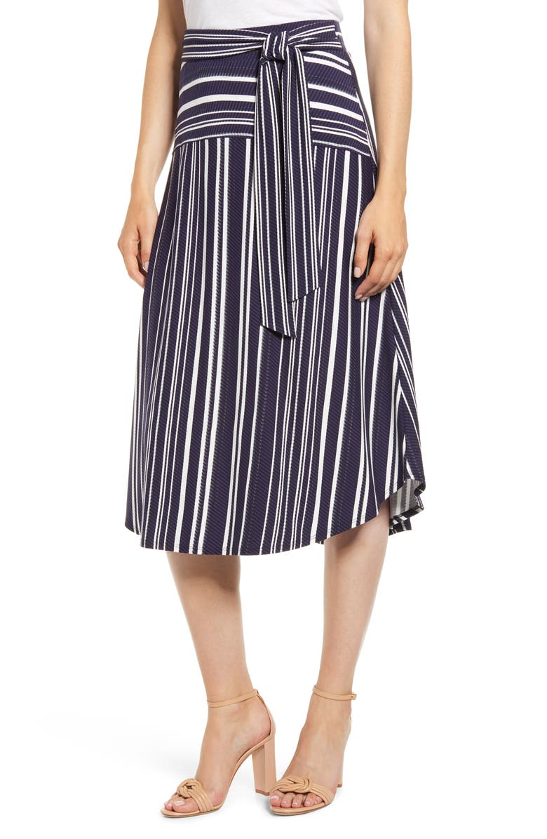 TOMMY BAHAMA Anoche Stripe Tie Waist Skirt, Main, color, 001