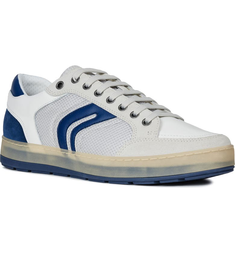 GEOX Ariam 12 Sneaker, Main, color, PAPYRUS/ WHITE SUEDE/ LEATHER