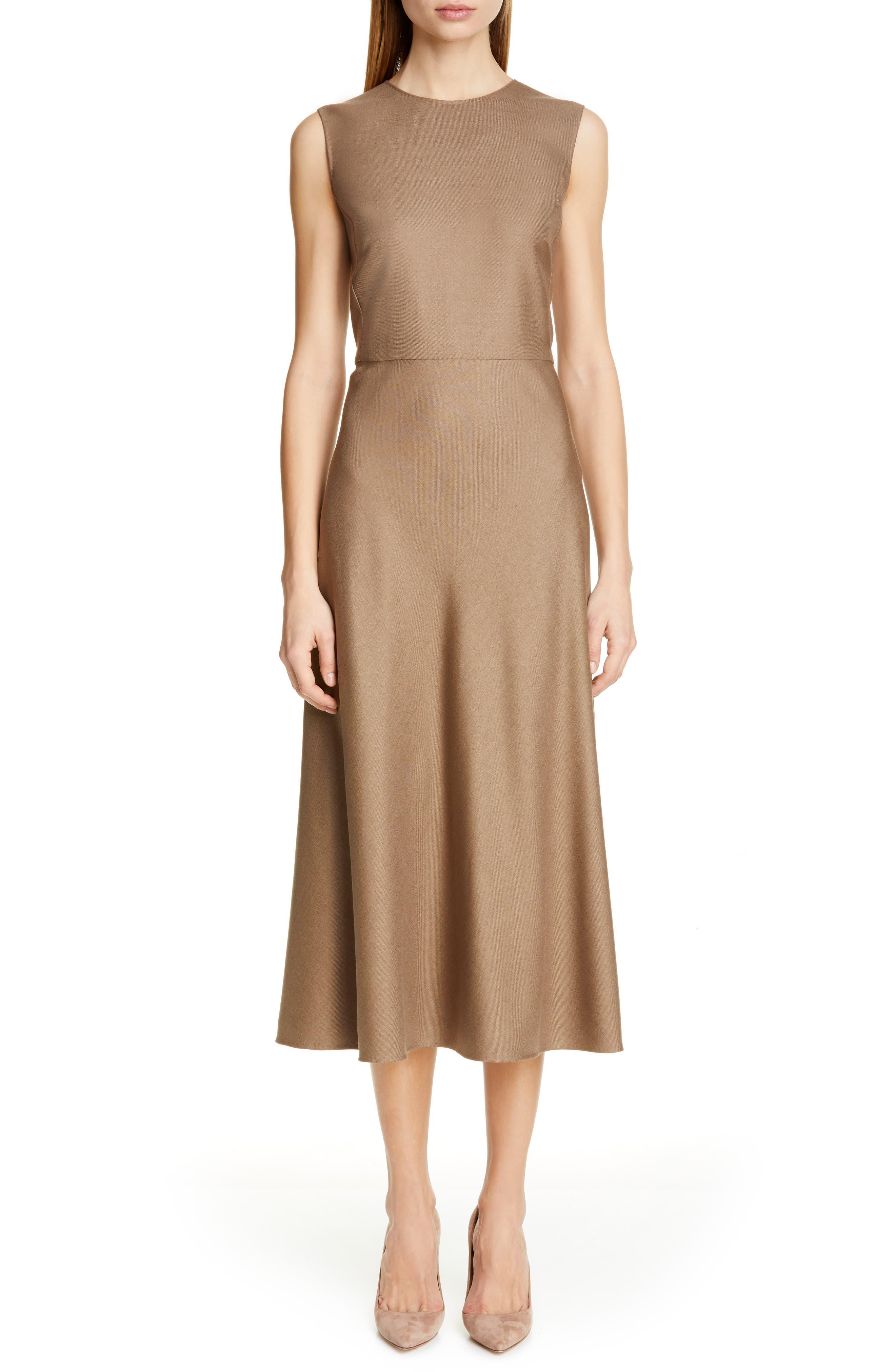 Max Mara Ural A-Line Midi Dress, Brown