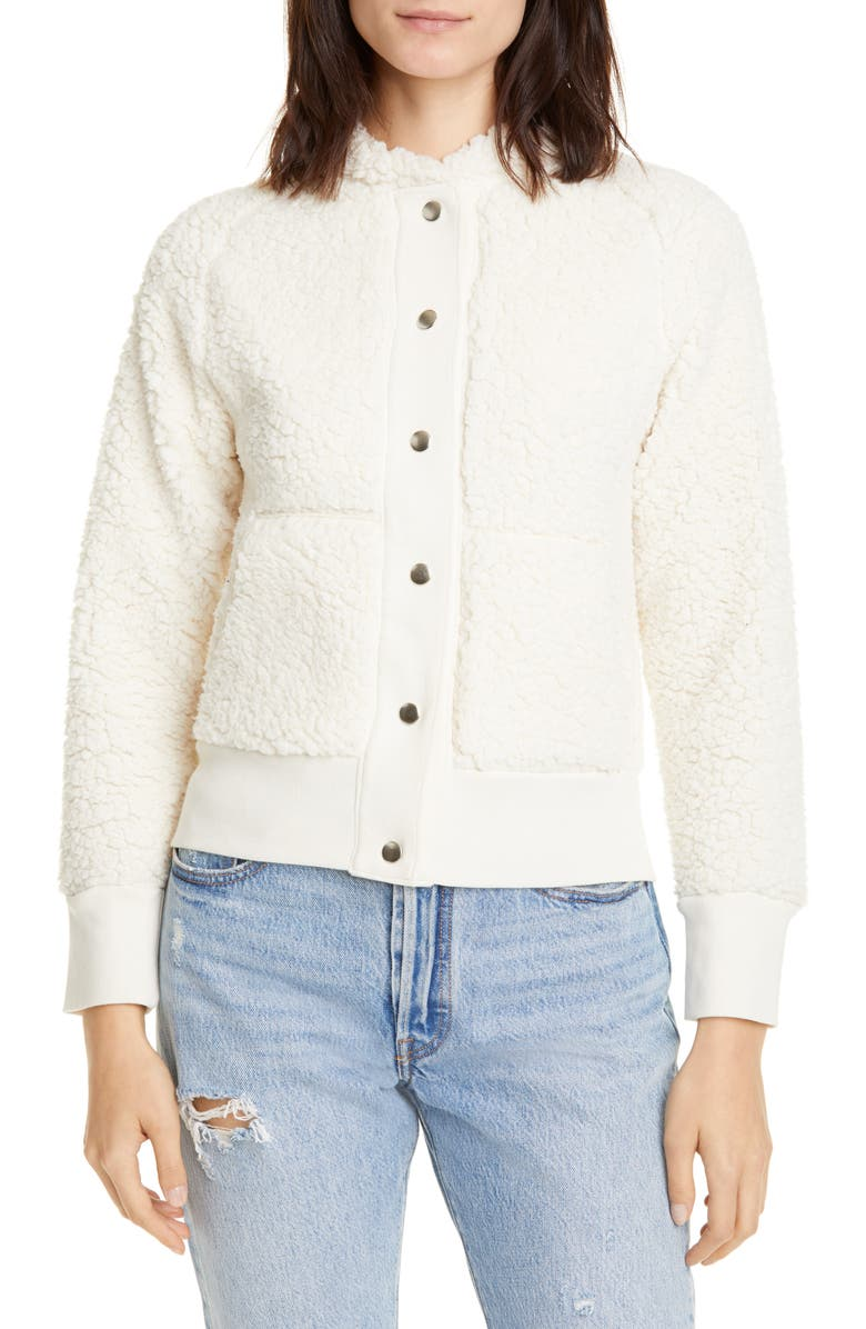NSF CLOTHING Aaron Fleece Bomber Jacket, Main, color, IVORY