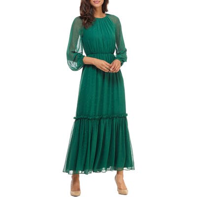Gal Meets Glam Collection Long Sleeve Chiffon Maxi Dress, Green