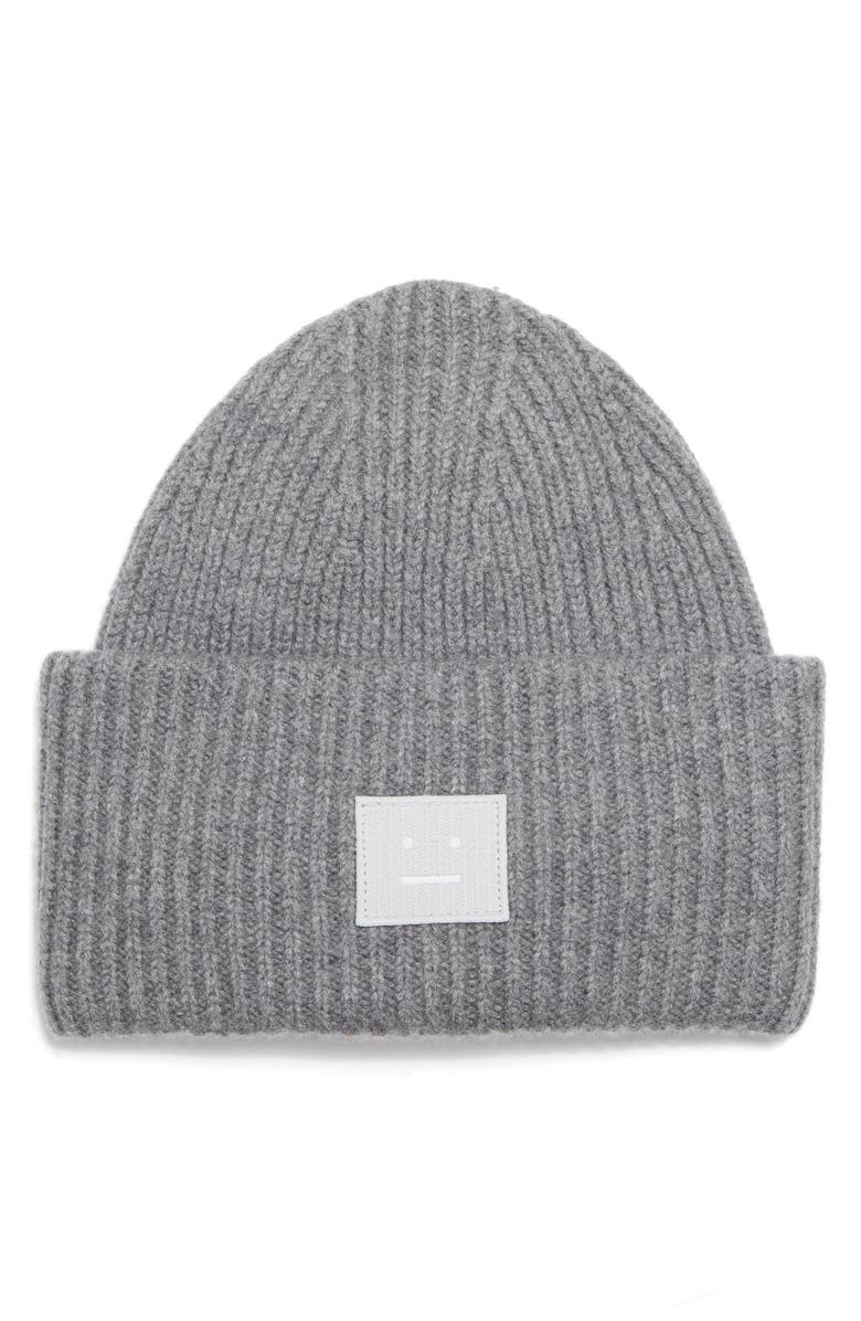 ACNE STUDIOS Pansy L Face Wool Beanie, Main, color, 010