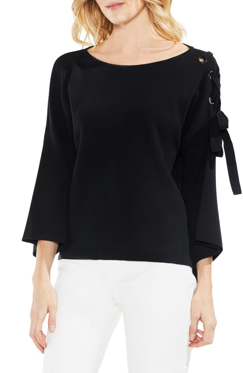 0dc55eed831c78 Vince Camuto Lace-Up Bell Sleeve Sweater | Nordstrom