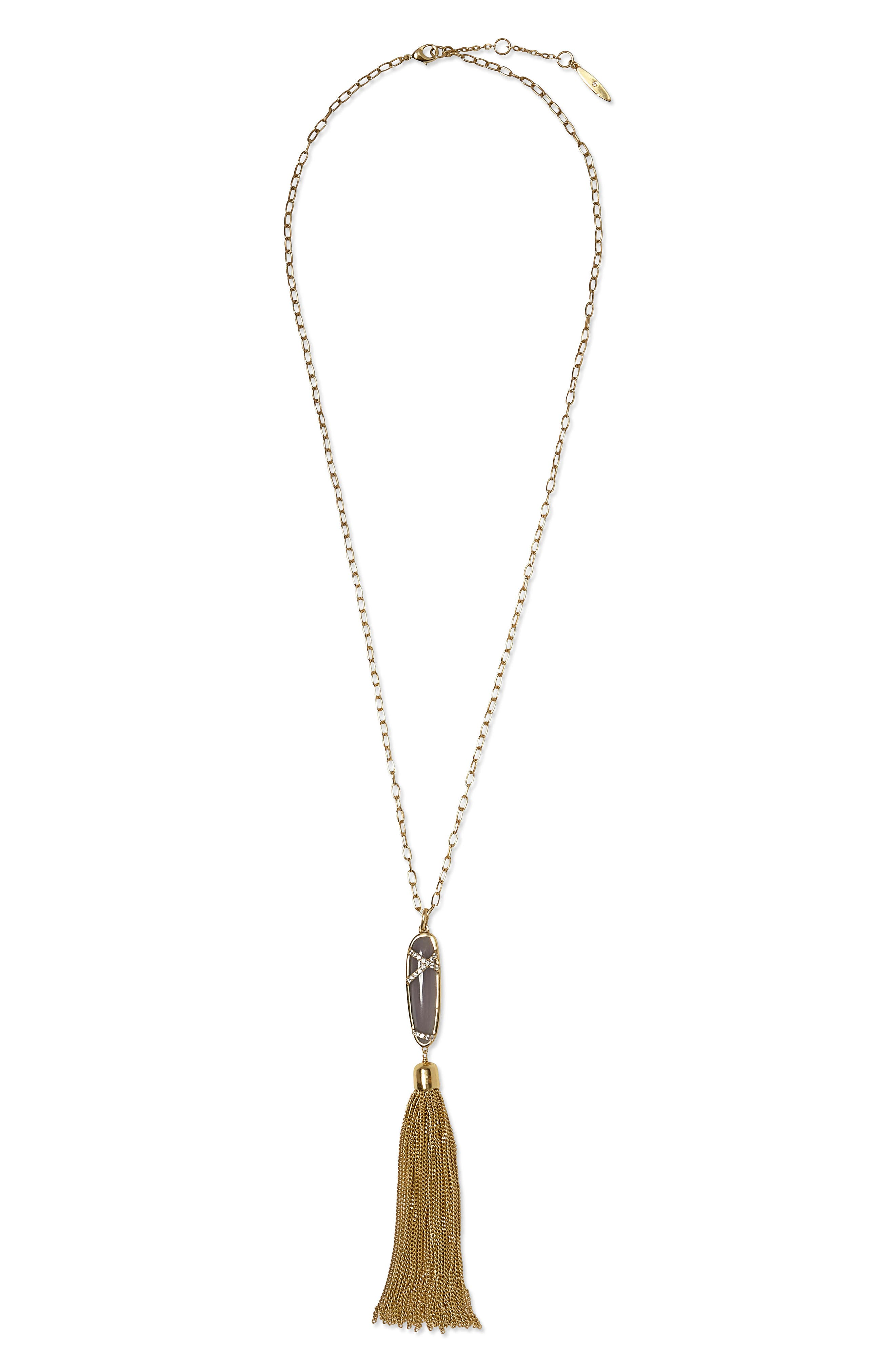 Sole Society Blue Agate & Crystal Accent Chain Tassel Pendant Necklace