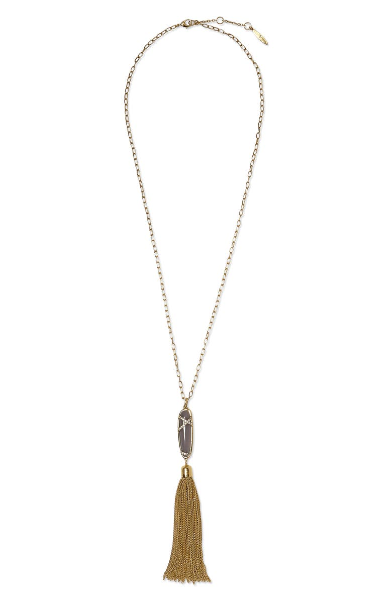 SOLE SOCIETY Tassel Pendant Necklace, Main, color, GOLD