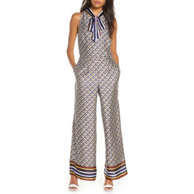 Julia Jordan Tie Neck Wide Leg Jumpsuit, Blue