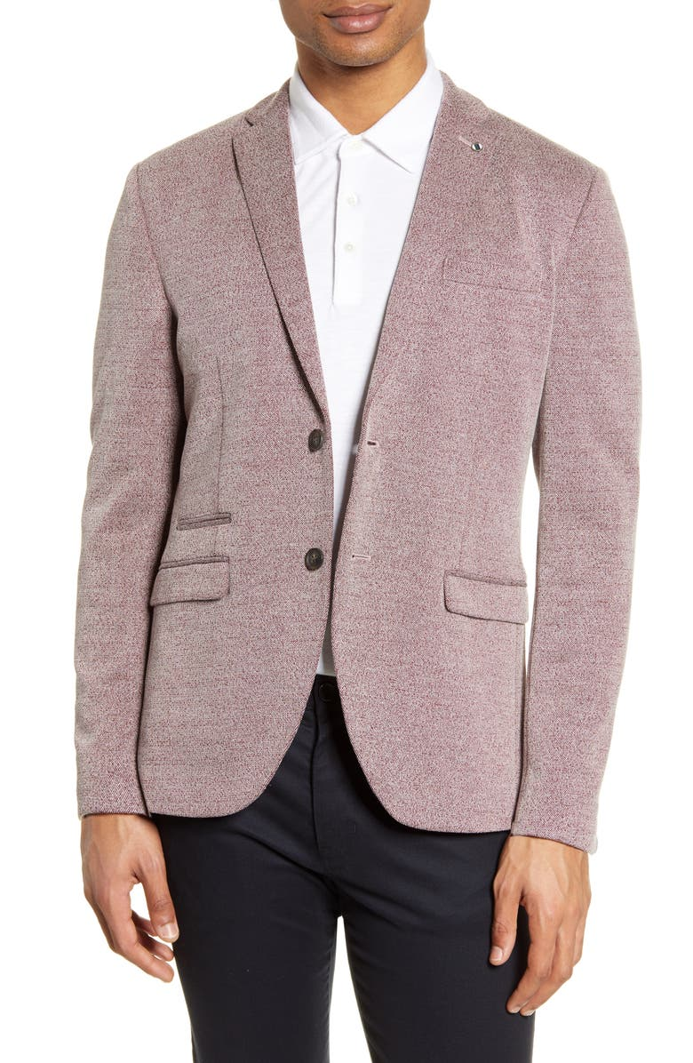 SELECTED HOMME Cody Slim Fit Tweed Sport Coat, Main, color, RED DAHLIA