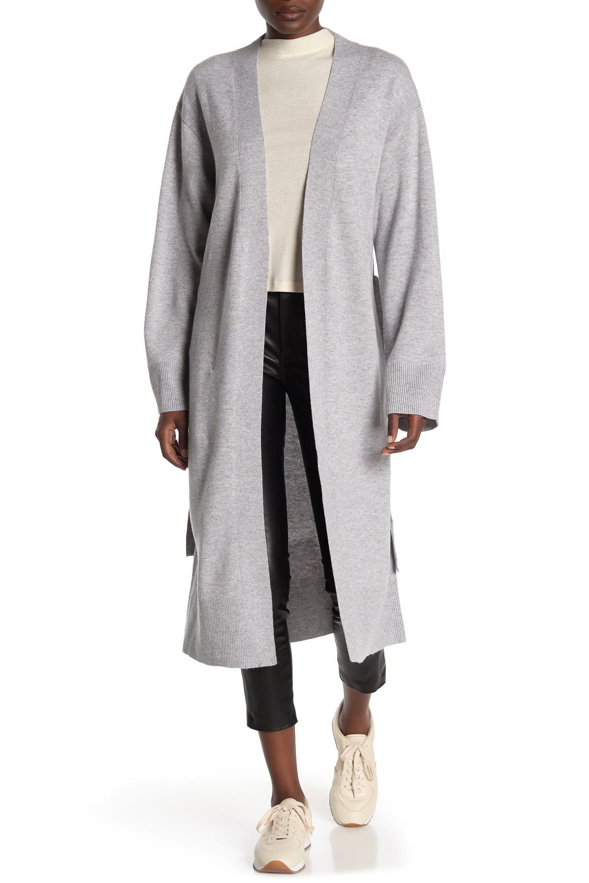 Image of Theory Waist Tie Wool Blend Cardigan Duster