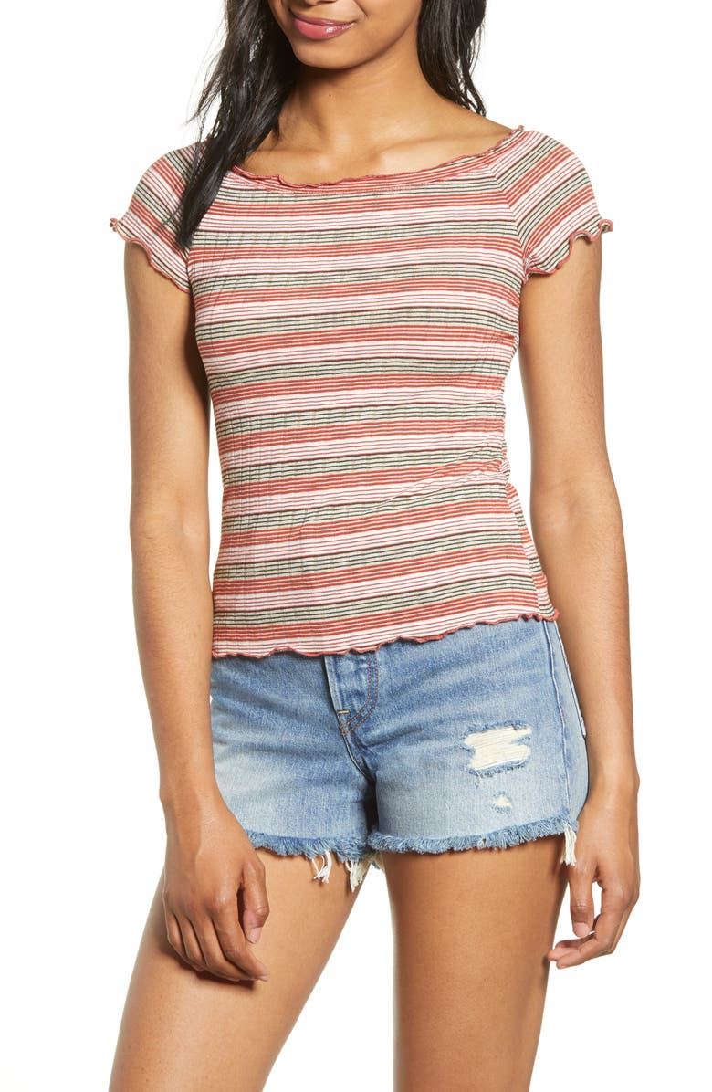 PST BY PROJECT SOCIAL T Lettuce Edge Rib Tee, Main, color, WINE MULTI STRIPE