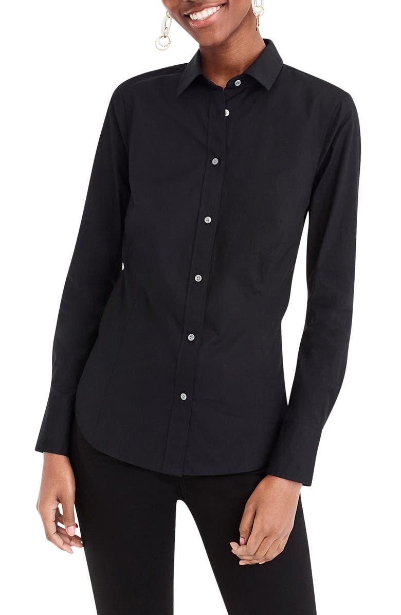J.CREW Perfect Curvy Slim Stretch Shirt, Main, color, BLACK