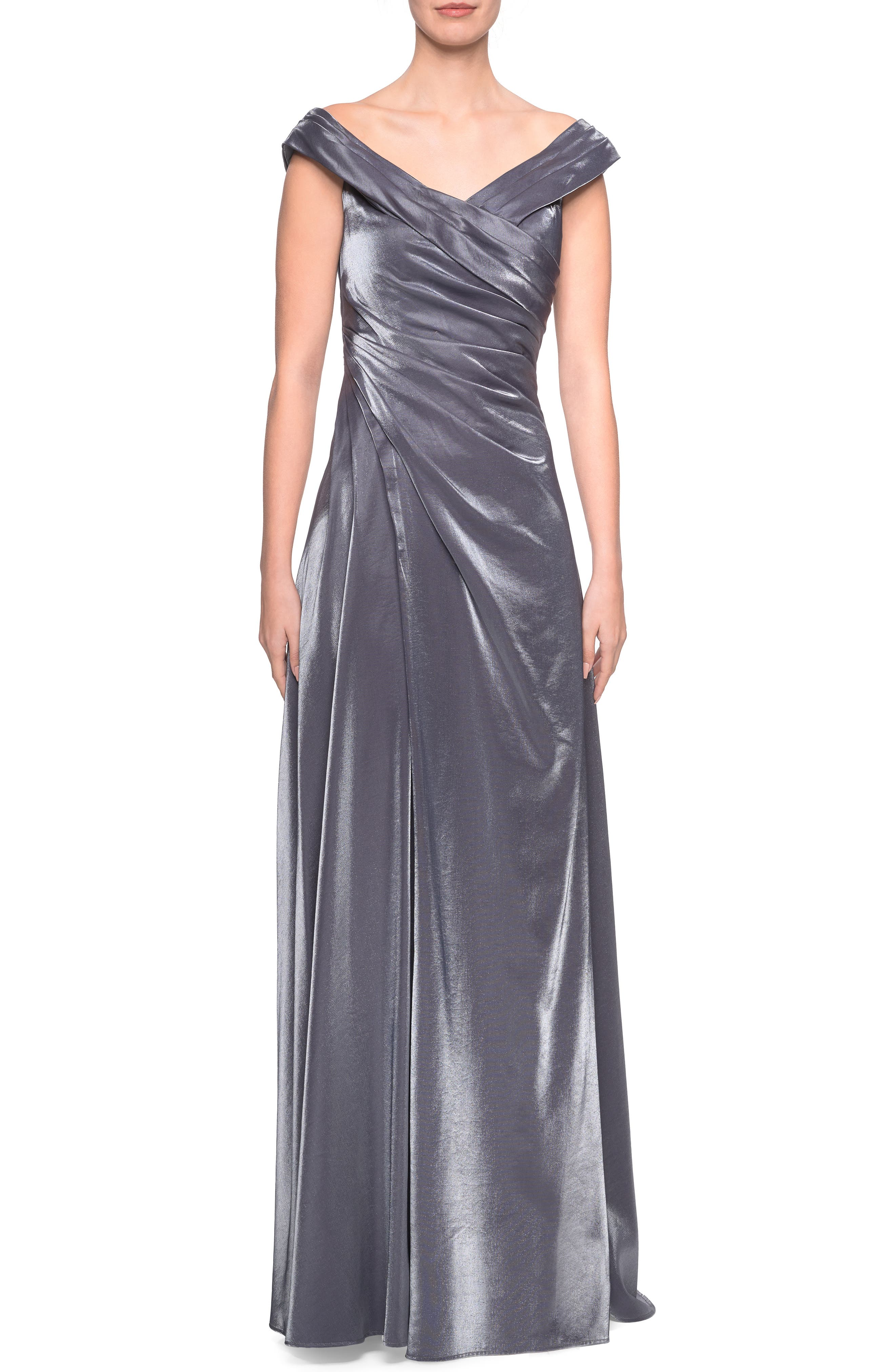 La Femme Ruched Satin Evening Dress, Grey