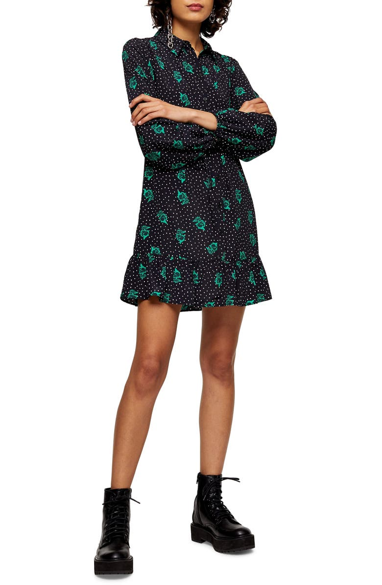 TOPSHOP Rose & Spot Minidress, Main, color, BLACK MULTI