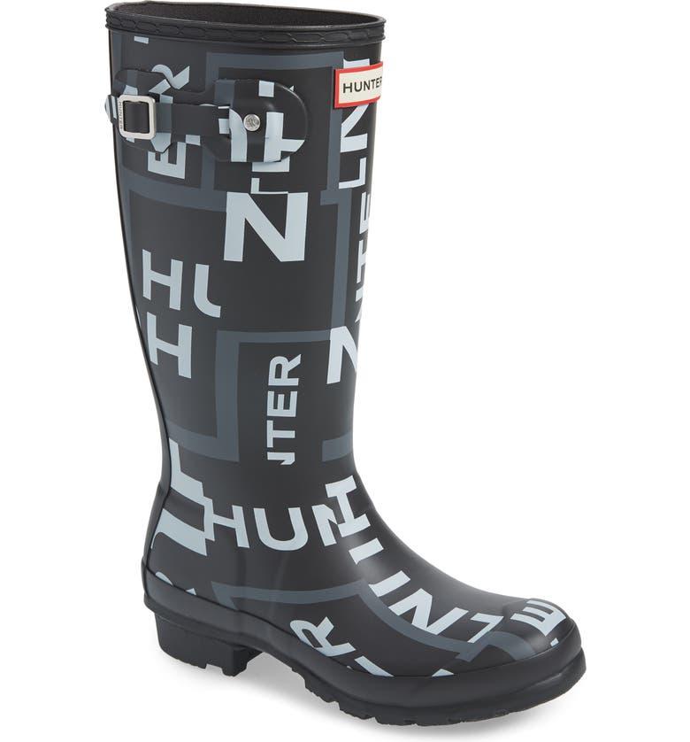 HUNTER Original Exploded Logo Waterproof Rain Boot, Main, color, ONYX
