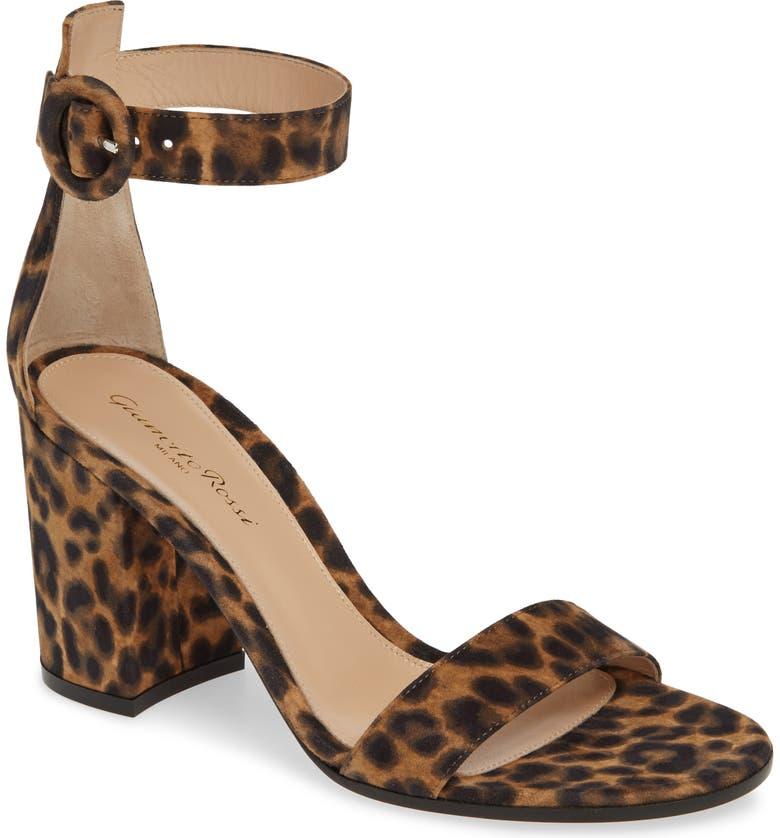 GIANVITO ROSSI Leopard Print Ankle Strap Sandal, Main, color, LEOPARD