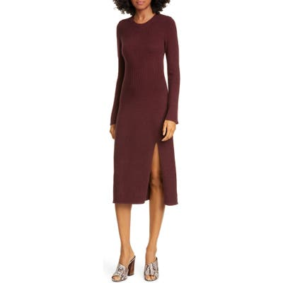 Equipment Etyenne Long Sleeve Wool Blend Sweater Dress, Burgundy