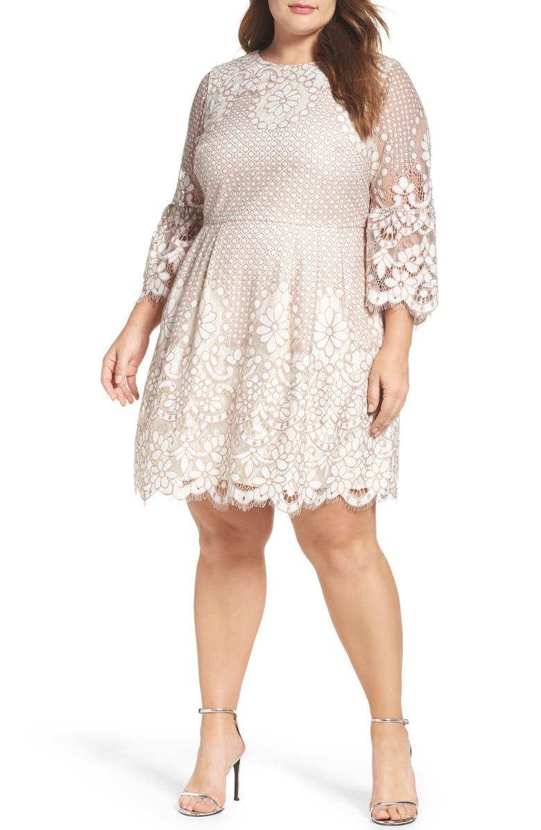 ELIZA J Lace Fit & Flare Dress, Main, color, 112