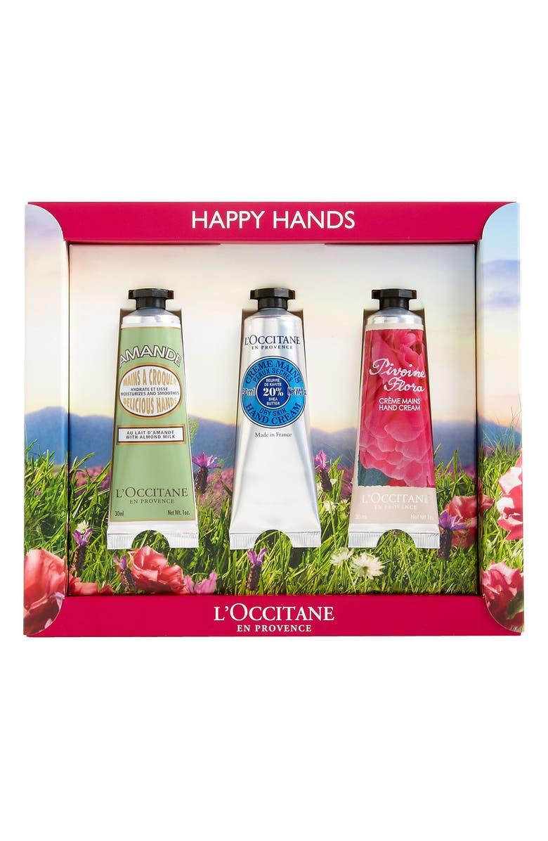 L'OCCITANE 'Happy Hands' Hand Cream Trio, Main, color, 000