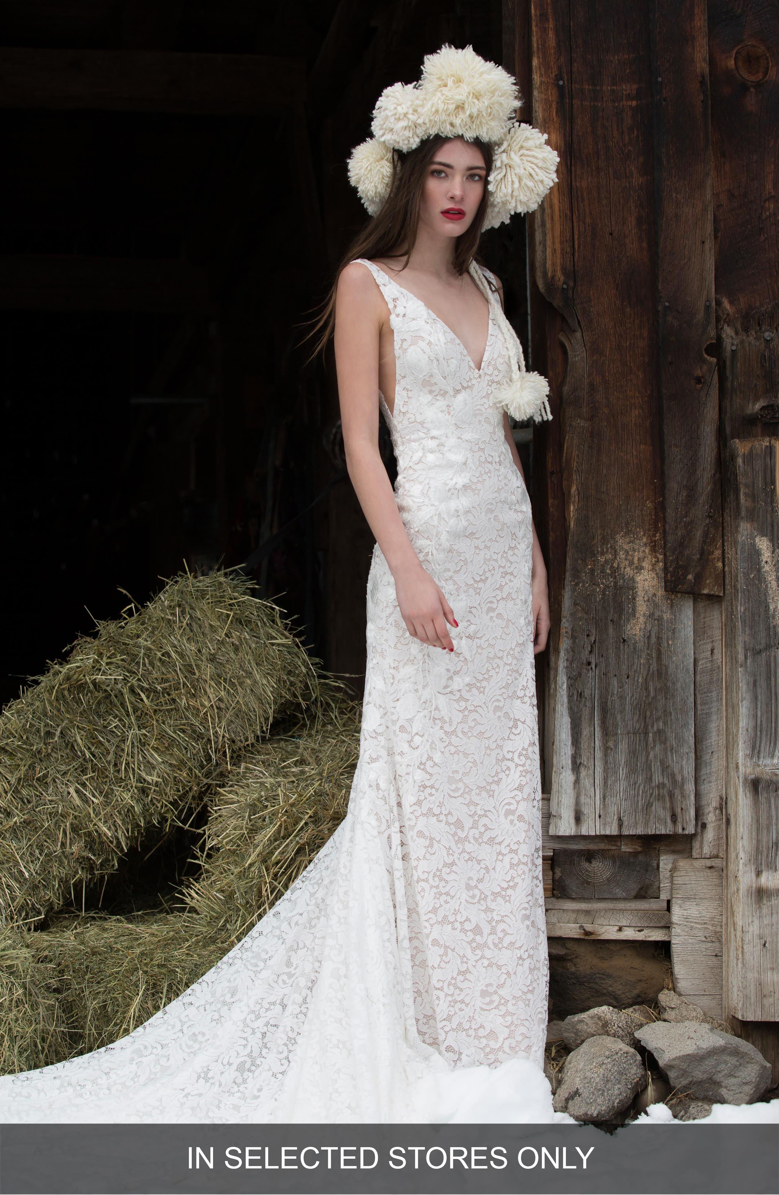 Willowby Bluma Lace Sheath Gown, Size - Ivory