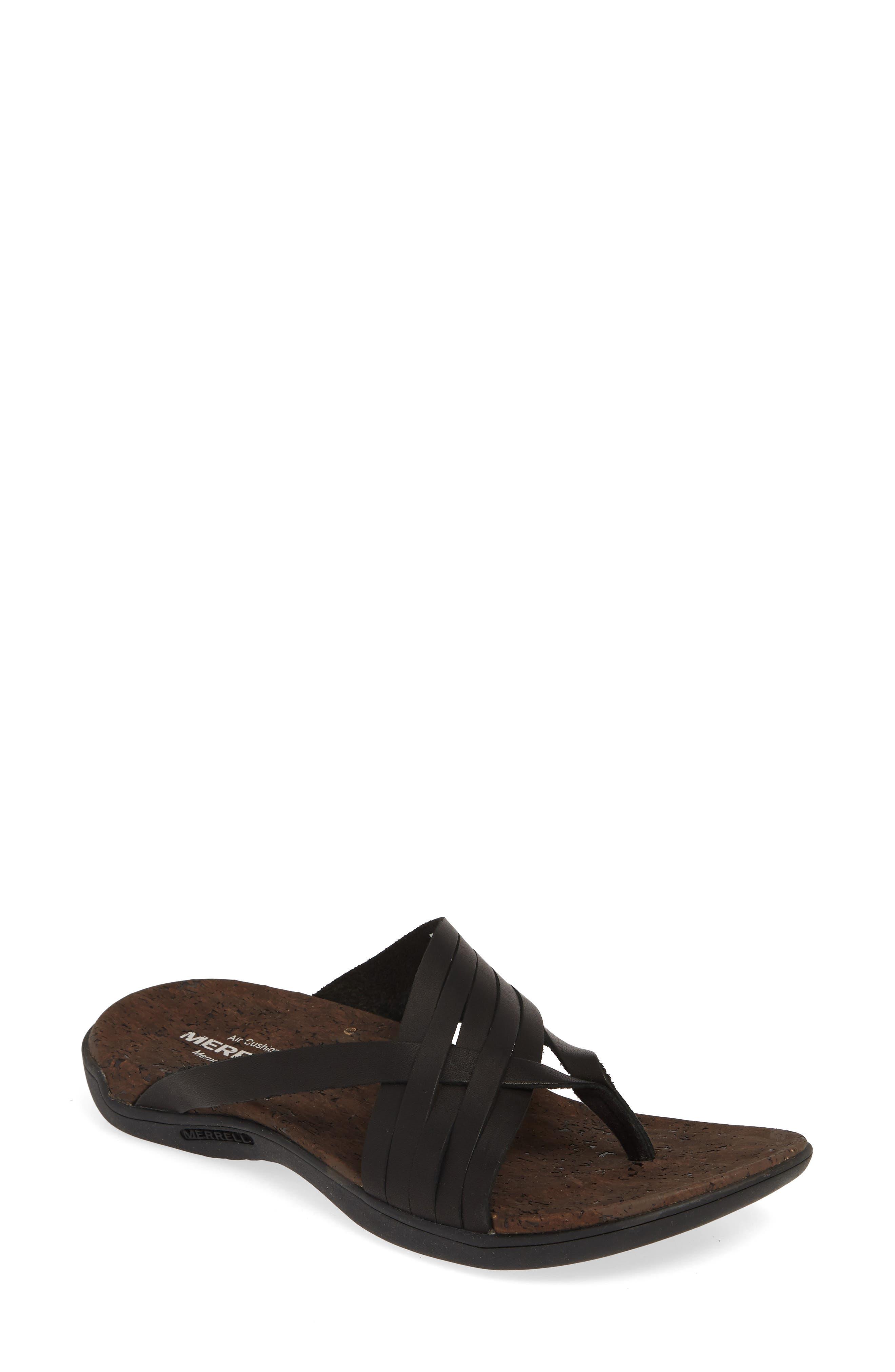 District Mahana Flip Flop, Main, color, BLACK LEATHER