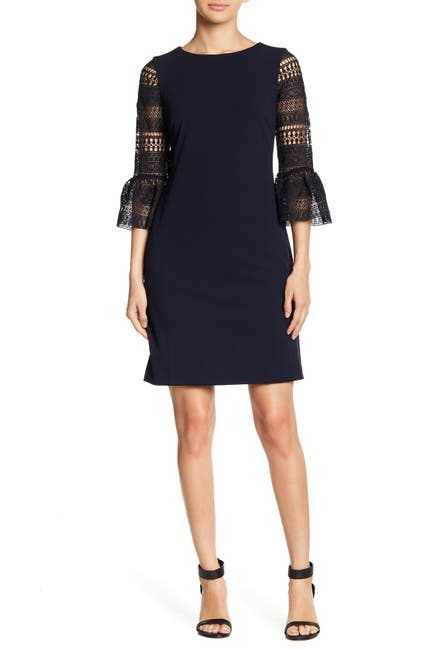 Image of Donna Ricco Crocheted Bell Sleeve Sheath Dress