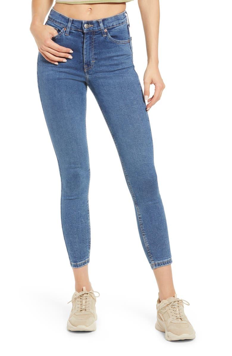 TOPSHOP Jamie High Waist Crop Jeans, Main, color, MID DENIM