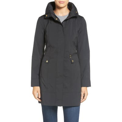 Petite Cole Haan Signature Back Bow Packable Hooded Raincoat, Black