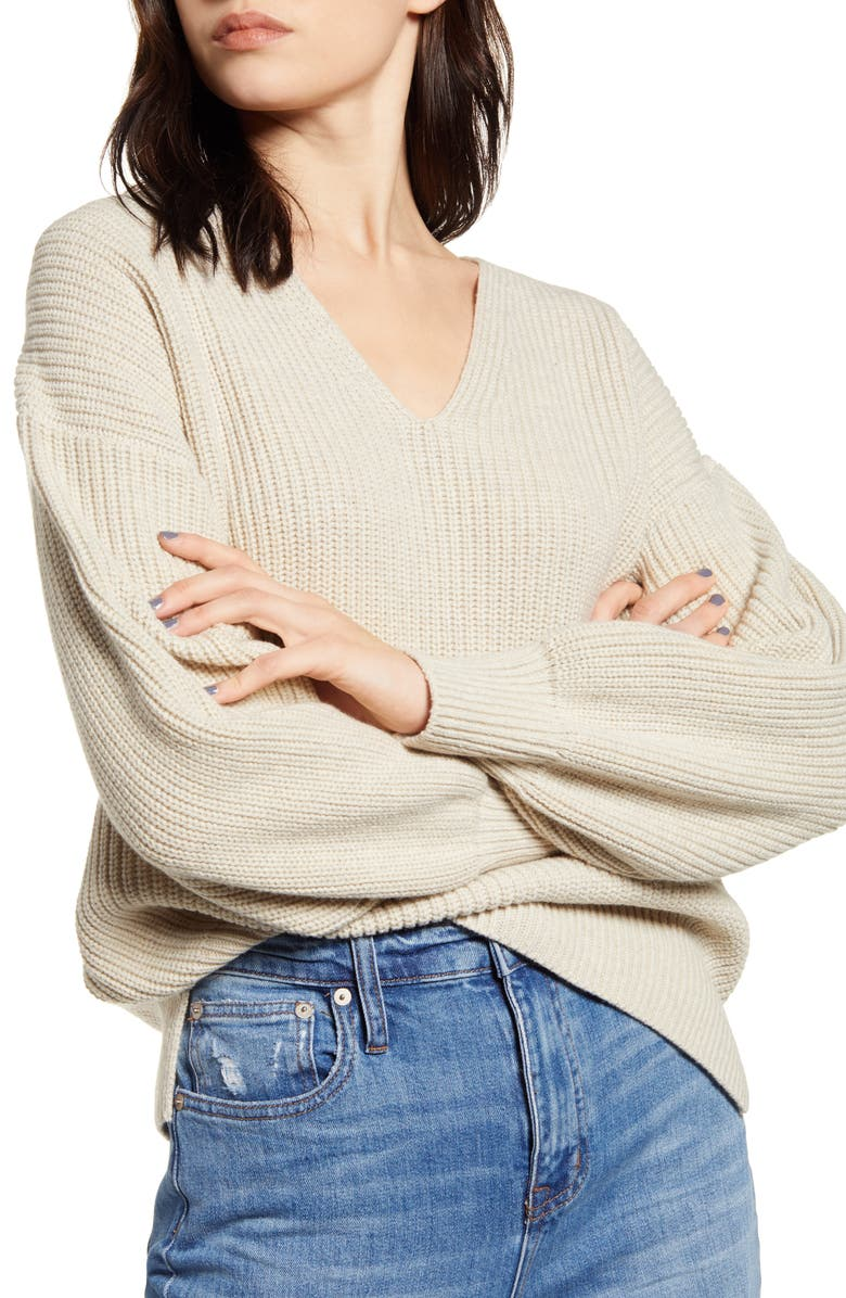 MADEWELL Thornton Balloon Sleeve Sweater, Main, color, HEATHER FOG