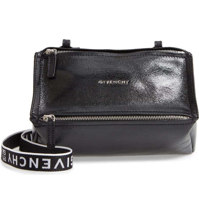 GIVENCHY Mini Pandora Glazed Leather Shoulder Bag, Main, color, BLACK