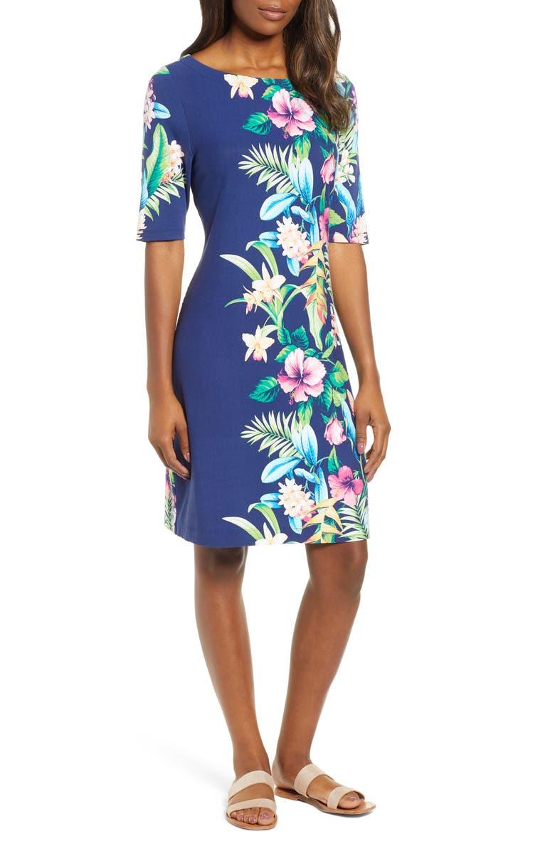 TOMMY BAHAMA Tropicalia Shift Dress, Main, color, ISLAND NAVY
