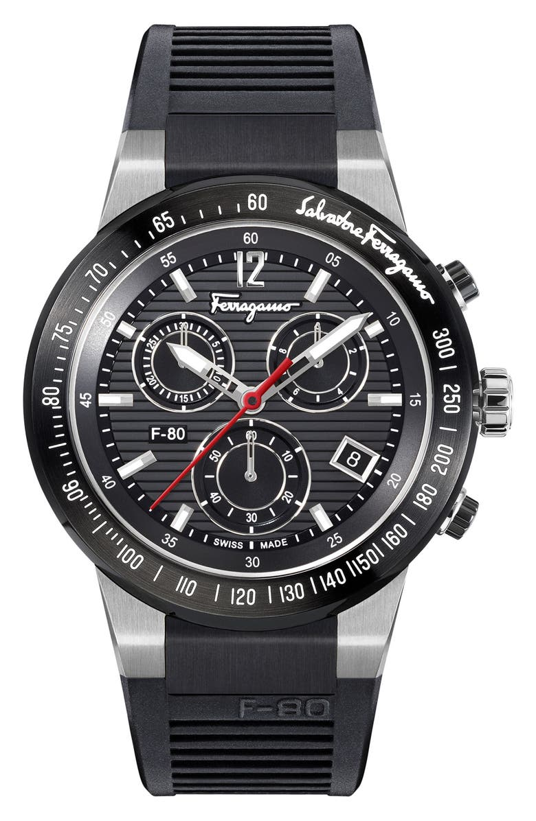 SALVATORE FERRAGAMO F-80 Chronograph Rubber Strap Watch, 44mm, Main, color, BLACK/ SILVER
