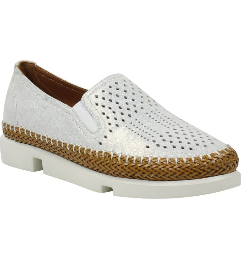 L'AMOUR DES PIEDS Stazzema Platform Slip-On, Main, color, WHITE/ GOLD SHIMMER