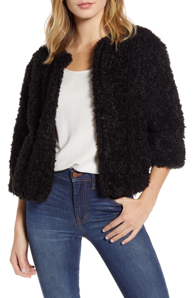 BISHOP + YOUNG Bolero Faux Fur Jacket, Main, color, 001