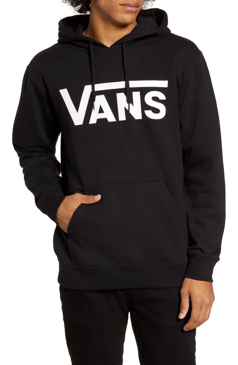 VANS Classic Fit Logo Hooded Sweatshirt, Main, color, BLACK/ WHITE