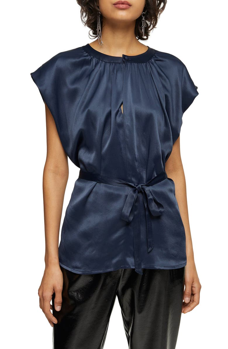TOPSHOP Tie Waist Sleeveless Blouse, Main, color, NAVY BLUE