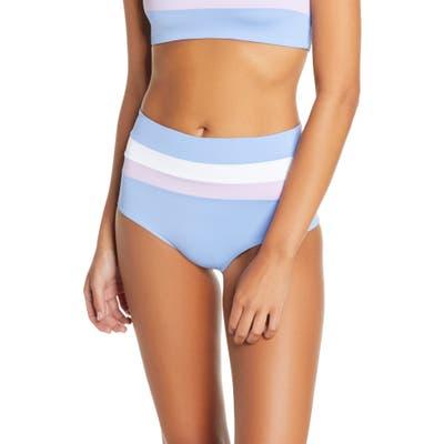 L Space Portia Reversible High Waist Stripe Bikini Bottoms, Blue/green
