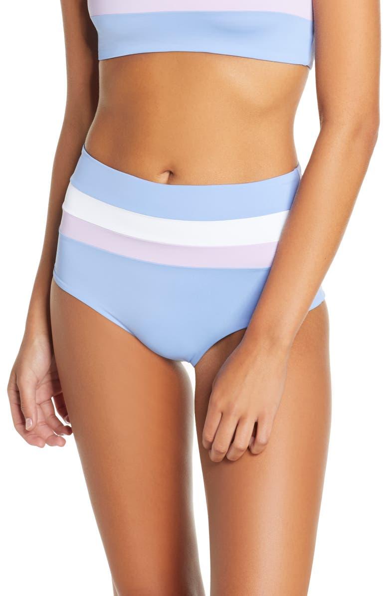 L SPACE Portia Reversible High Waist Stripe Bikini Bottoms, Main, color, PERI BLUE / WHITE/ LILAC