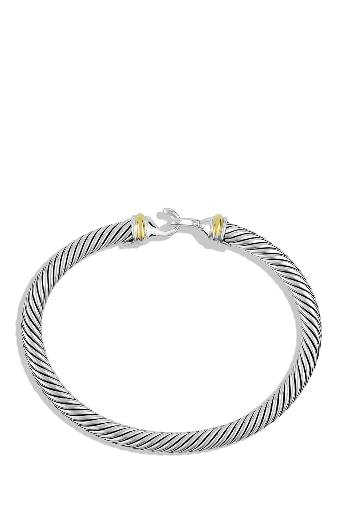 ,                             Cable Classic Buckle Bracelet with 18K Gold, 5mm,                             Alternate thumbnail 3, color,                             TWO TONE