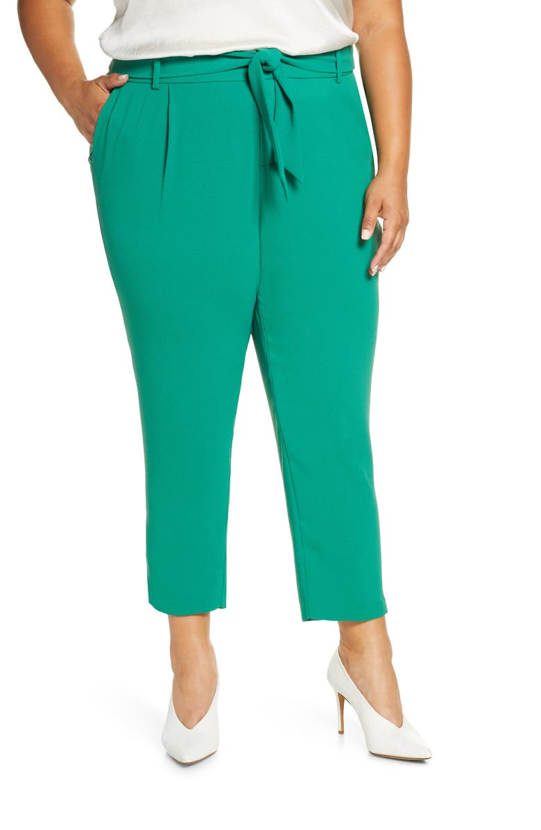 ELOQUII Tie Waist Slim Fit Trousers, Main, color, VERDANT GREEN