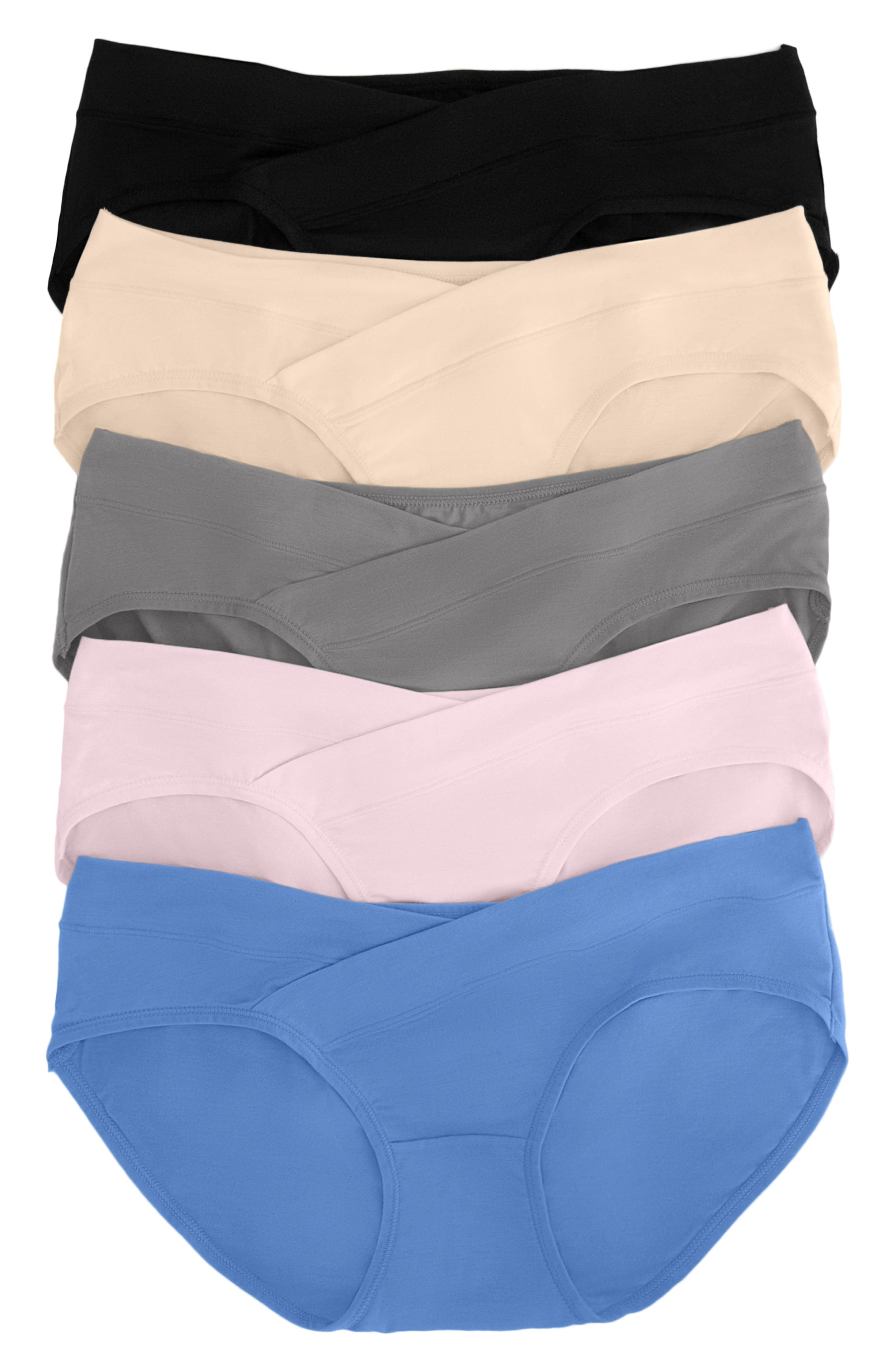 Assorted 5-Pack Under The Bump Full Coverage Maternity Briefs