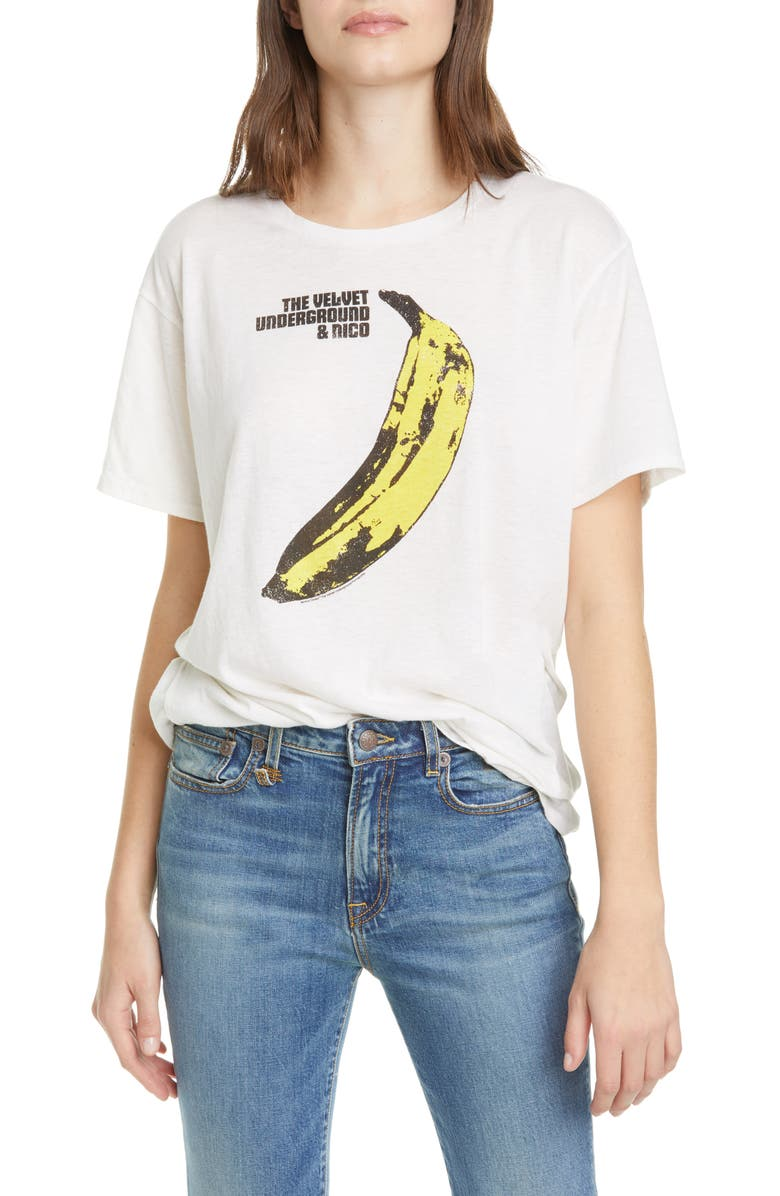 R13 Velvet Underground Banana Graphic Tee, Main, color, 100