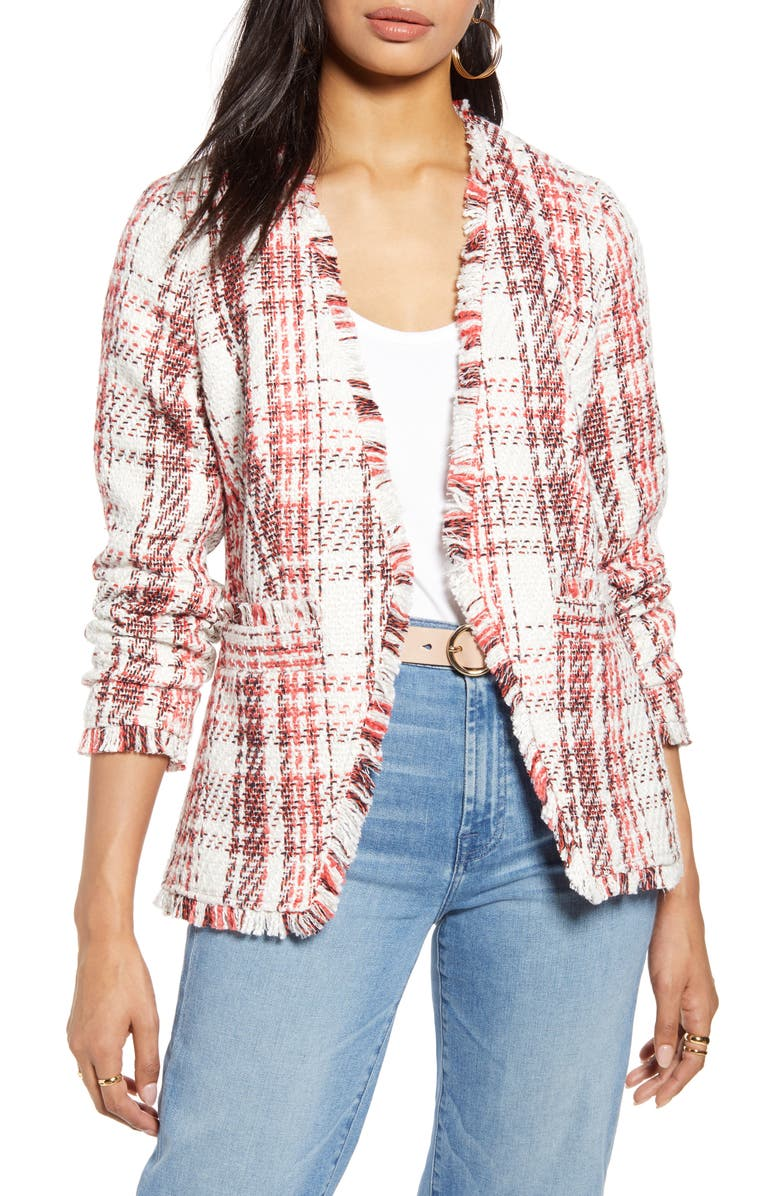 HALOGEN<SUP>®</SUP> Open Front Plaid Tweed Jacket, Main, color, IVORY- CORAL LETTA TWEED