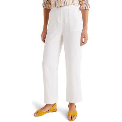 Boden Filey Flare Linen Pants, White