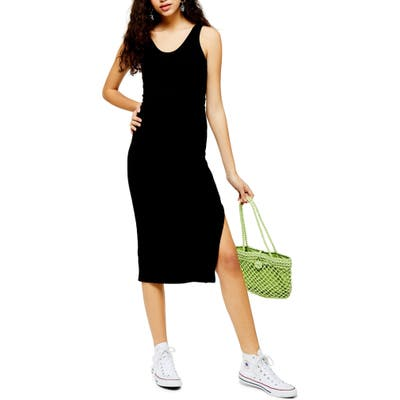Petite Topshop Ribbed Belted Tank Dress