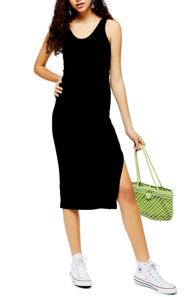 TOPSHOP Ribbed Belted Tank Dress, Main, color, BLACK